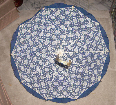 Beautiful Vintage Lace Lined Blue Umbrella