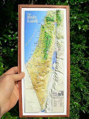 "Holy Land 3-D Topographic Wall MAP Jesus Christ 15"" Israel Christian Bible Sites"