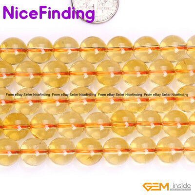 """Round Yellow Citrine Stone Beads For Jewelry Making Loose Beads Lots Strand 15"""""""