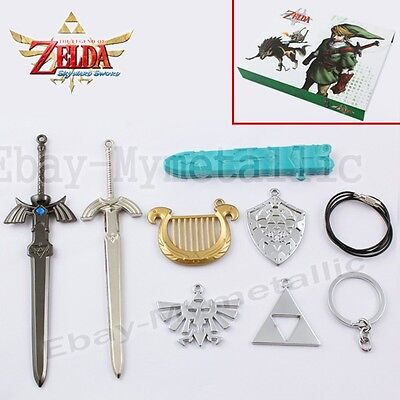 7pcs Set The Legend of Zelda Weapon Sword & Badge Pendant Cosplay New In Box #02
