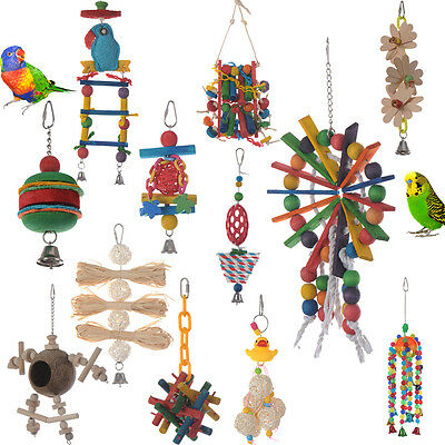 Parrot Pet Bird Chew Cages Hang Play Toys With Bells Cockatiel Parrotlet Conure