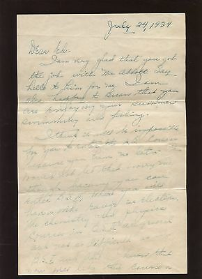 July 24 1934 Jim Crowley 2 Page Handwritten Letter to Ed Franco