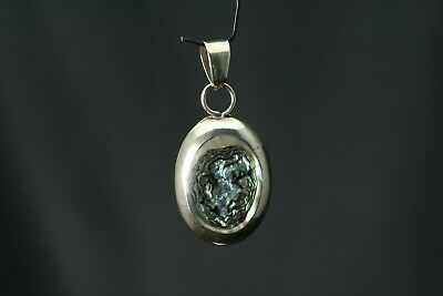 Oval Shaped PAUA Shell Sterling Silver 925 MEXICO Pendant Fast Shipping PEN1866