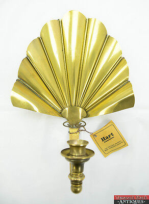 Vintage Hart Associates Handcrafted Brass Fan Wall Candle Stick Holder Sconce
