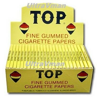 TOP FINE GUMMED CIGARETTE ROLLING PAPERS 24 BOOKLETS Authentic peper