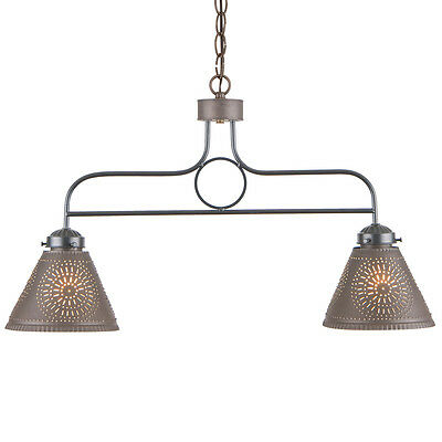 WROUGHT IRON BAR LIGHT PUNCHED TIN SHADES Rustic Country Island Kitchen