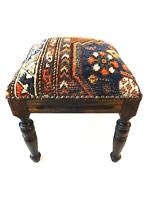 "Superb Persian Antique Tribal Qashqa'i Upholstered / Stool/Ottoman 16"" H"