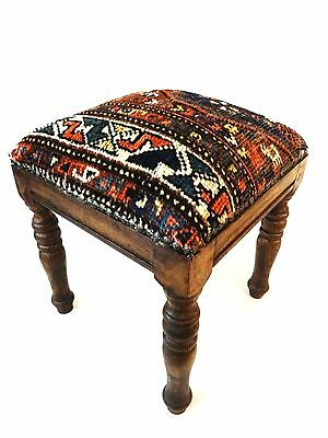 "Superb Persian Antique Tribal Qashqa'i Upholstered / Stool/Ottoman 16"" H by 13.5"