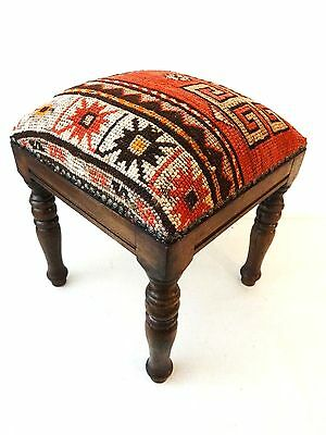 """Superb Caucasin Antique Tribal Rug Upholstered / Stool/Ottoman 16"""" H by 13.5""""w"""