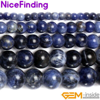 """Natural Sodalite Loose Beads For Jewelry Making Gemstone 15"""" 3,4,6,8,10,12,14mm"""