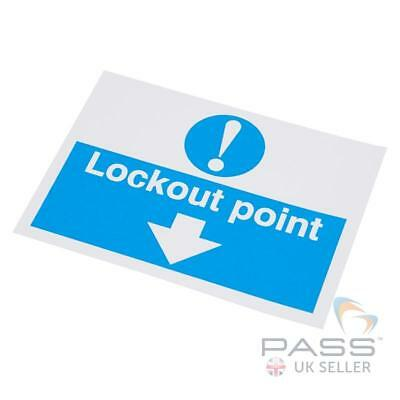Lockout Self Adhesive Labels - 'Lockout Point' - 55 x 75mm, pack of 10