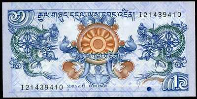 BHUTAN  - 1  NGULTRUM  2013    P 27b  LOT 2 PCS  Uncirculated Banknotes