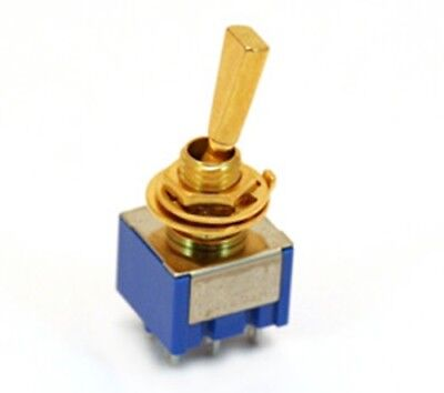 NEW - On-On DPDT Mini Switch, DPDT, Flat Bat - GOLD