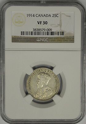 1914 Canada 25 Cents Silver, NGC VF 30. George V