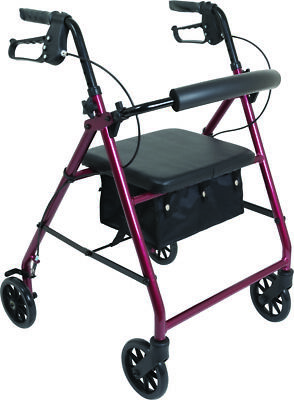 """Probasic 4 Wheel Lightweight Walker Rollator - Fits users 5'5"""" - 6' tall, Red"""