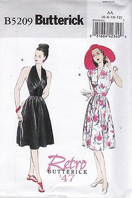 Butterick Sewing Pattern Misses Halter Dress VINTAGE 1940s 47 RETRO 6 - 20 B5209