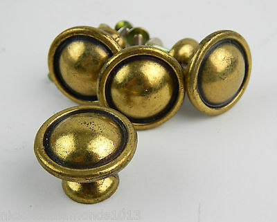 "Set 4 Brass Black Lined 1"" Drawer Knobs / Pulls Reclaimed, Distressed w/ Screws"