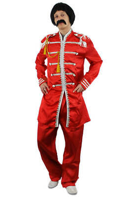 1960S POP SERGEANT FANCY DRESS COSTUME SET WITH RED HIPPY GLASSES TASH WIG