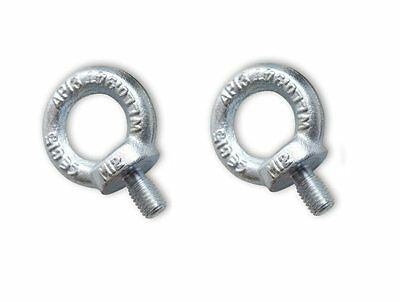 2 x 8mm Bright Zinc Plated Lifting Eye Bolts Towing Bolts