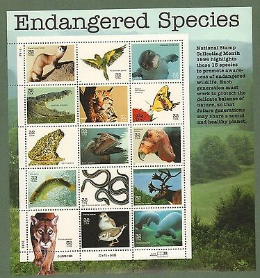 3105   Endangered Species.   MNH 32 cent sheet of 15.  Issued in 1996.