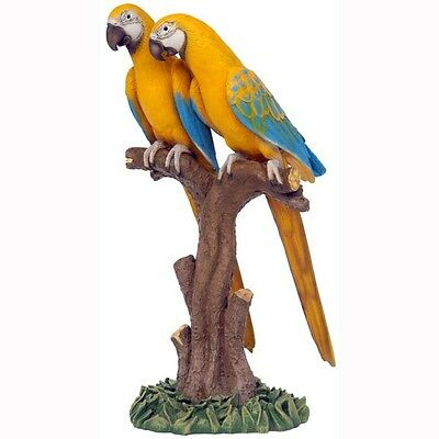 Macaw Parrots  Yellow Blue Resin Statues Prop Jungle Display - Free Ship