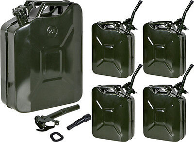 LOT 5~5Gal 20L Metal Gasoline Gas Fuel Caddy Can Tank Emergency Backup Wholesale