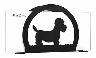 SWEN Products DANDIE DINMONT Dog Black Metal Letter Napkin Card Holder