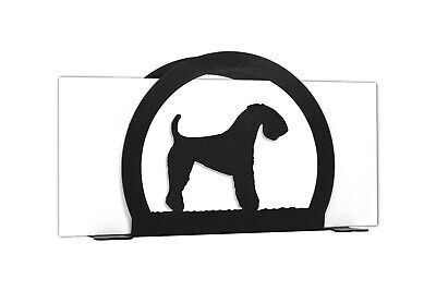 SWEN Products KERRY BLUE TERRIER Dog Black Metal Letter Napkin Card Holder