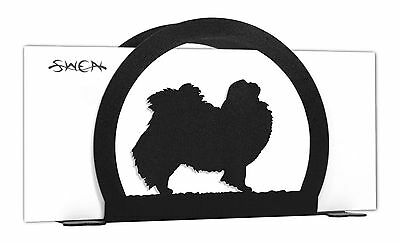 SWEN Products JAPANESE CHIN Dog Black Metal Letter Napkin Card Holder