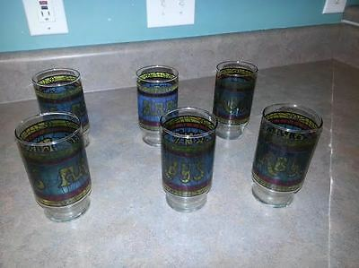 Set of 6 Arby's Stained Glass Drinking Glasses Tumblers