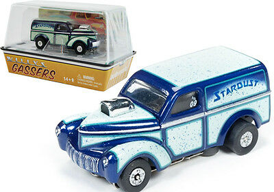 Auto World R14 1940 Willys Custom Panel Stardust Green/Blue Slot Car HO / 1:64