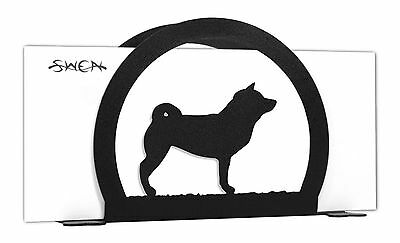 SWEN Products SHIBA INU Dog Black Metal Letter Napkin Card Holder