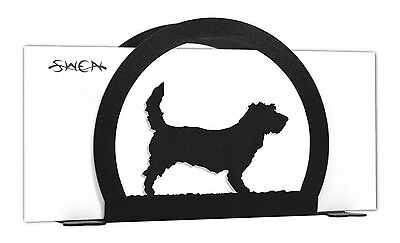 SWEN Products PBGV Dog Black Metal Letter Napkin Card Holder