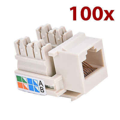 100x RJ45 Cat5e Ethernet Keystone Jack Network Module Socket For Wall Faceplate