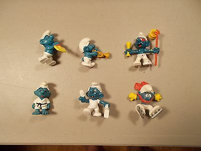 Lot of 6 Vintage Smurf  Peyo Schleich  Figures with KARATE DOCTOR TRUMPET lot 14
