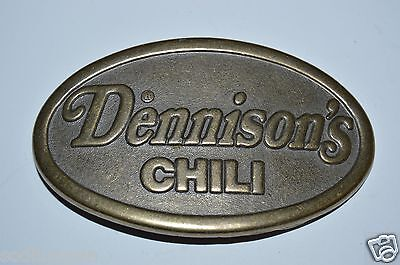 WOW Nice Vintage DENNISON'S Chili Brass Tone Party Tailgate Belt Buckle RARE