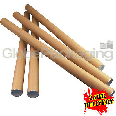 100 x A0 Quality Postal Cardboard Poster Tubes Size 885mm x 50mm + End Caps 24HR