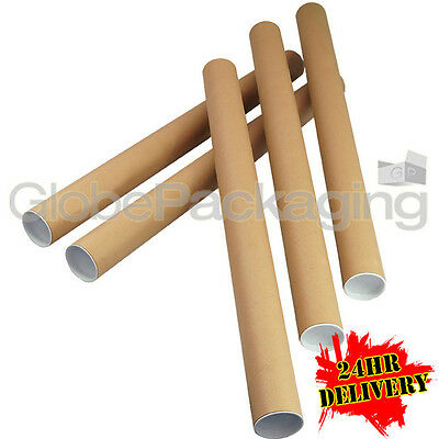 250 x A1 Quality Postal Cardboard Poster Tubes Size 630mm x 50mm + End Caps 24HR