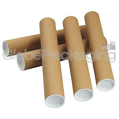 5 x A4 Quality Postal Cardboard Poster Tubes Size 240mm x 50mm + End Caps
