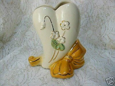 American Bisque Yellow Bow/Heart Floral Vase