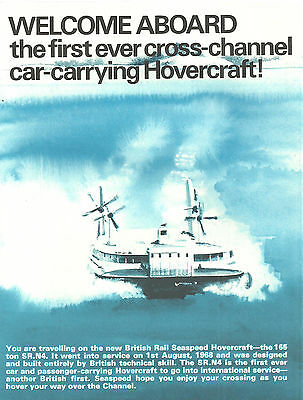 Welcome Aboard Cross Channel Car Carrying Hovercraft Fold Out Leaflet 1968