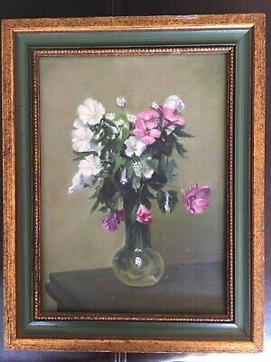 QUALITY Old FLORAL oil PAINTING  flowers vase pink FRAMED fine art mystery