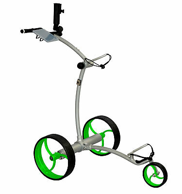 Tour Made RT-630LI Quickfold Lithium Elektro Golftrolley Caddy Silber Räder Lime