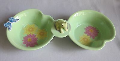 2 Part Condiment  Server w/ Frog Center Lenox China Butterfly Meadow