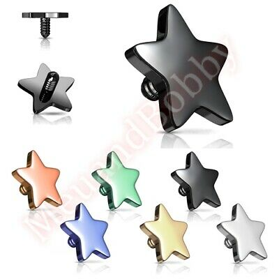 1 X 14G Titanium IP Flat Star Top Internally Threaded Dermal Anchor Spare Part