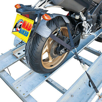 Motorcycle Motorbike Transport Trailer Tie Down Ratchet Strap System. Tyre Fix