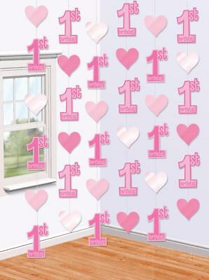 6 x 7ft Girls 1st First Birthday Pink Hanging String Banner Party Decorations