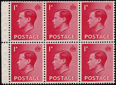 1936 SG PB2a 1d SCARLET UNMOUNTED MINT BOOKLET PANE WATERMARK INVERTED