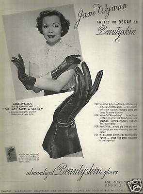 40's Jane Wyman for Beautyskin Glove Advertisement  1949