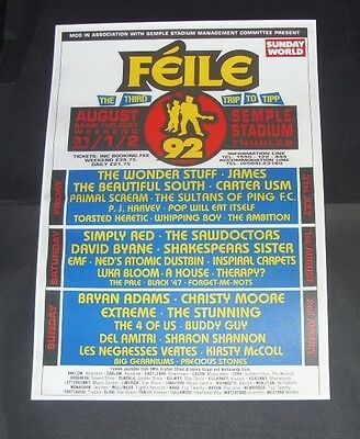 Feile Festival Ireland 1992 Concert Poster Repro (The Third Trip To Tipp)